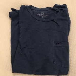 Blue vineyard vines pocket tee.